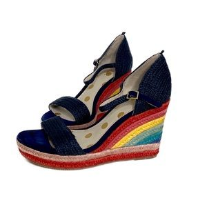 NWT Boden Lily Espadrille Rainbow Wedges Shoe Sz 8